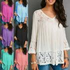 Womens 3/4 Sleeve T Shirt Lace V Neck Plus Size Shirt Casual