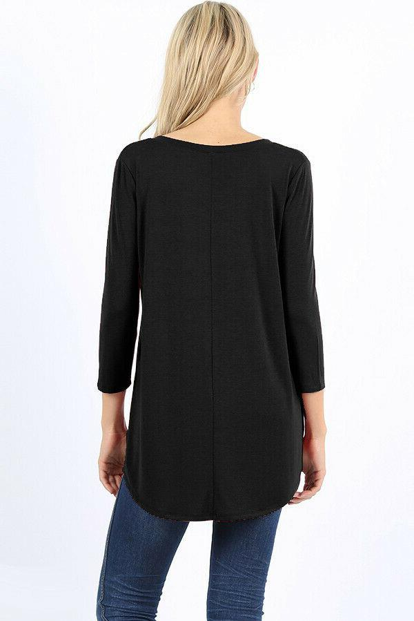 Womens 3/4 Sleeve V-Neck Top Loose Blouse