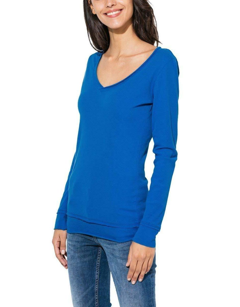 Womens Long V Neck T Shirt 100% Solid