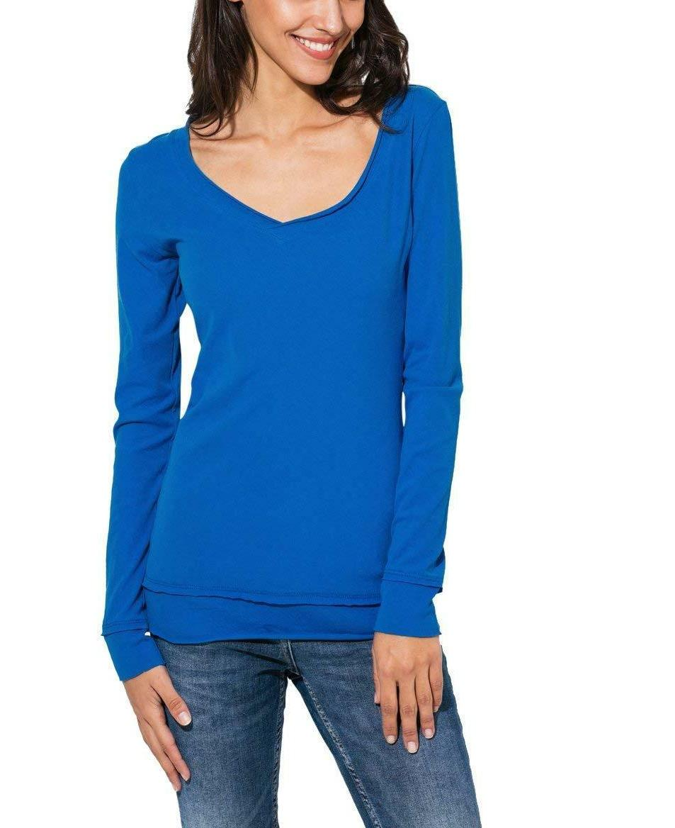 Womens Basic V T 100% Cotton Slim Solid Tops