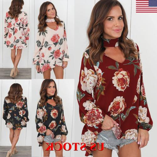 Womens Choker V Neck Floral T-Shirt Ladies Loose Tops Blouse