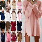 Womens Long Sleeve Jumper Tops Knitted Sweater Loose Mini T