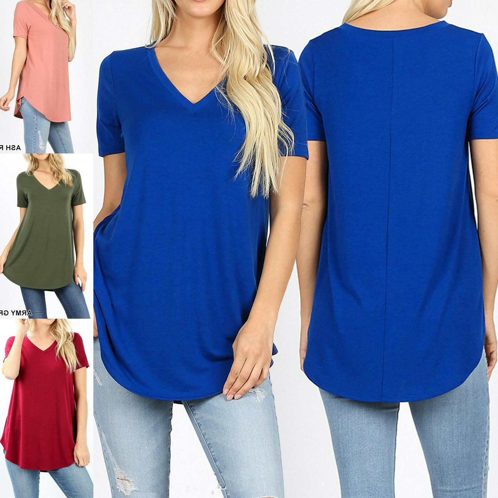 Womens Loose Fit Sleeve V-Neck Casual Basic Blouse
