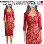 Womens Sexy Elegant V Neck Floral Lace Cocktail Party Slim B