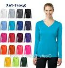 Womens Sport-Tek Dry Fit Long Sleeve V-Neck Moisture Wicking