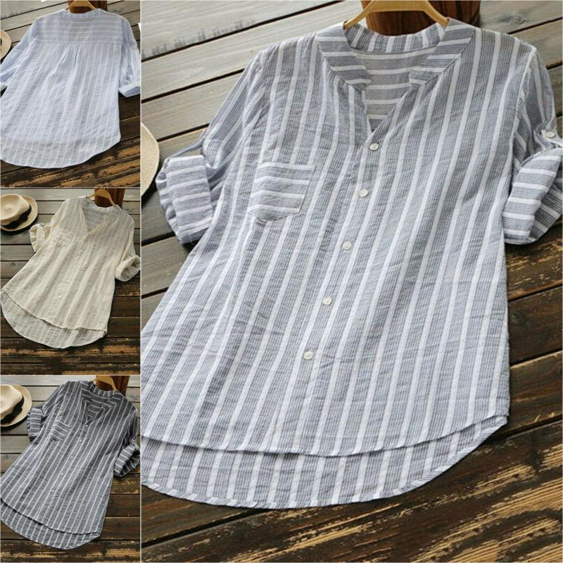 womens summer striped v neck blouses loose