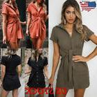 Womens Summer V Neck Dress Ladies Waist Bow Knot OL Work Dre