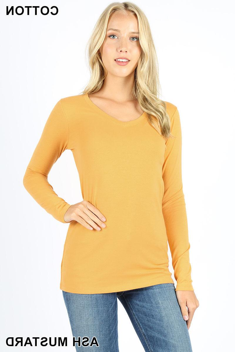 Womens T Neck Sleeve Cotton Top