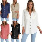Womens V Neck Long Sleeve Ladies Loose Button Up Casual Shir