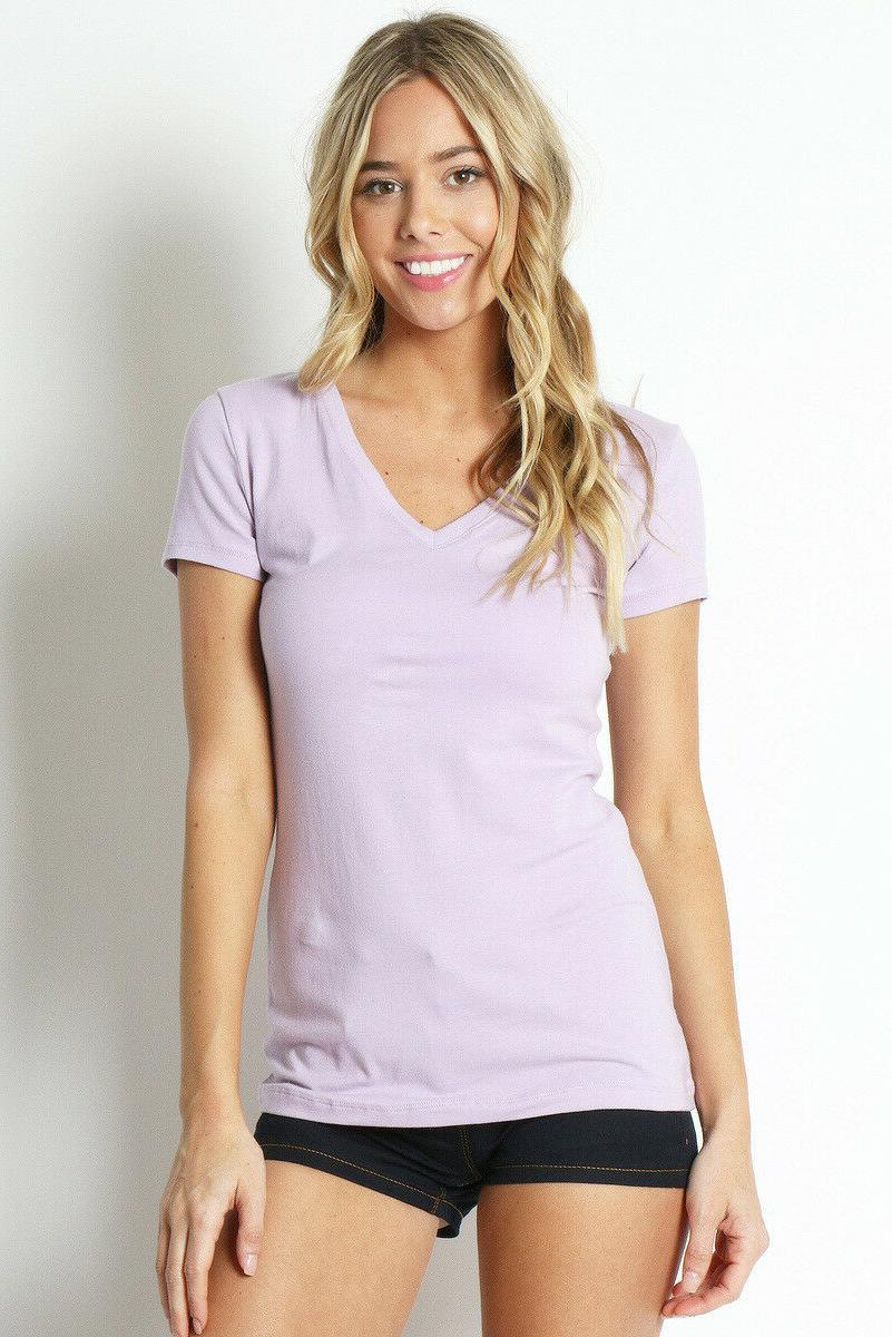 Womens V Neck T Shirt Short Sleeve Basic S/M/L/XL Free Ship