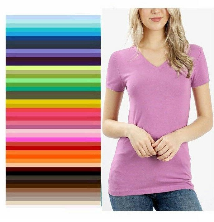womens v neck t shirt zenana short