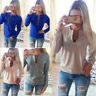 Womens Zip Up V Neck Hoodies Casual Pullover Jumper Top Long