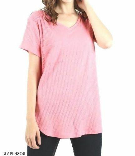 Zenana Ribbed V-Neck Top Scoop Loose