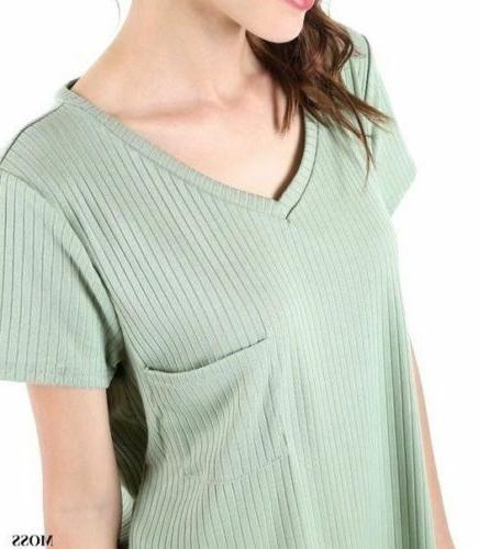 Zenana Ribbed V-Neck Top With Scoop