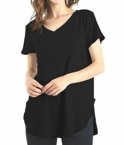 zenana ribbed v neck top with chest