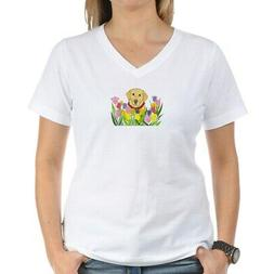 CafePress Lab In Flowers Womens Cotton V-Neck T-shirt