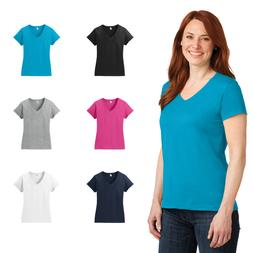 Anvil Ladies 100% Combed Ring Spun Cotton V-Neck Comfort Lay