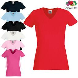 Fruit Of The Loom LADIES T-SHIRT V-NECK LADY FIT COTTON ELAS