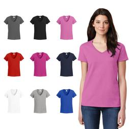 ladies v neck tee basic cotton blank
