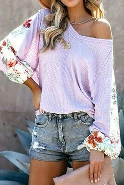 Lavender Thermal V Neck Raw Edge Floral Insert Sleeves Round