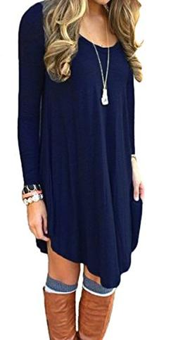 DEARCASE Women's Long Sleeve Casual Loose T-Shirt Dress Navy