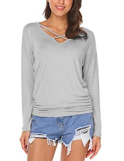 HOTOUCH ?Womens Loose V-Neck Pullover T Shirt Knit Tops Grey