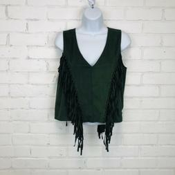 Lord and Taylor Design Lap Top sz S Fringe Boho Green Stretc