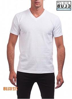 LOT 3 PRO CLUB MEN'S V NECK T SHIRTS PROCLUB PLAIN WHITE PAC