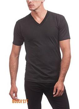 LOT 5 PRO CLUB V NECK T SHIRTS BLACK PACK MEN'S SHORT SLEEVE