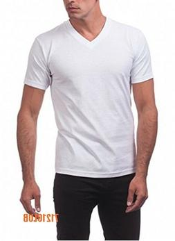 LOT 5 PRO CLUB V NECK T SHIRTS WHITE PACK MEN'S SHORT SLEEVE