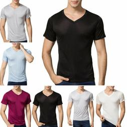 Men's 100% Mulberry Silk Knitted T Shirts Sleeping Underwear