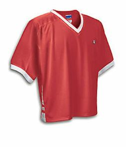 Men's  Champion Classic Mesh Lax V Neck Jersey Tee L  Red &