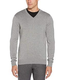 Perry Ellis Men's Classic Solid V-Neck Sweater, Smoke Heathe