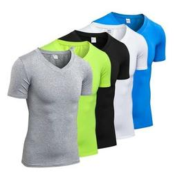 Men's Quick  Dry Compression V-Neck Sport T-shirt Fitness Wo