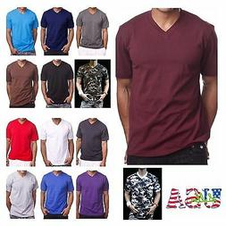 Men's HEAVY WEIGHT V-Neck T-Shirt Lot Plain Tee BIG And Tall
