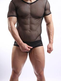 Men's Lingerie Perspective Mesh Fishnet Underwear V-Neck Tee