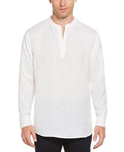 Perry Ellis Men's Long-Sleeve Solid Linen Cotton Popover Shi