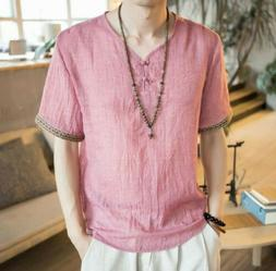 Men's Short sleeve V neck Ethnic style T shirts Loose Linen