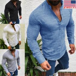 Men's Slim Fit V Neck Long Sleeve Muscle Tee T-shirt Casual