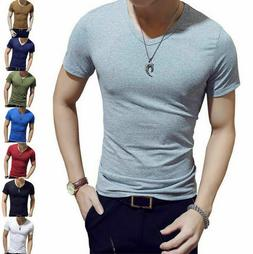 Men's V Neck Short Sleeve T-Shirt Slim Fit Casual Solid Colo