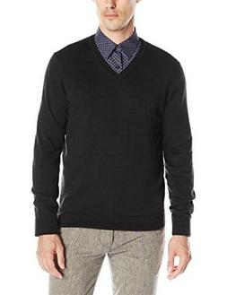 Perry Ellis Men's V-neck Sweater Classic, Solid Cotton Rayon