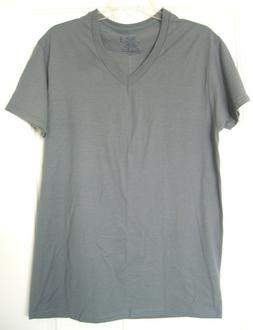 Fruit of the Loom Men's V-Neck T-Shirt Grey Tagless Size M 1