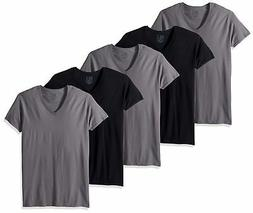 Fruit of the Loom Men's V-Neck T-Shirt Multipack Black/Grey