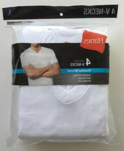 New Hanes Men's V-Neck Undershirt T-Shirt 4-Pack Comfort Ble