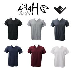 MEN V NECK T SHIRT SHAKA  PLAIN HEAVY MATERIAL  MULTI-COLOR