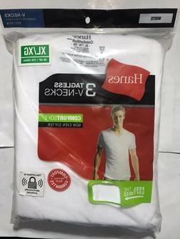 Hanes Mens 3 Pack White V Neck T Shirt Undershirt Comfort So