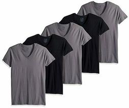 Fruit Of The Loom Mens Black/Grey Cotton V Neck T-Shirts - 5