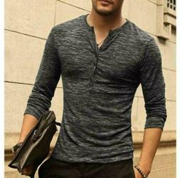 Mens Cotton Muscle T-Shirt Slim Fit Tee Long Sleeve V Neck T