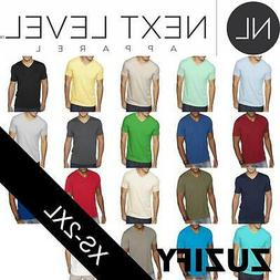 Next Level Apparel Mens Premium Sueded V-Neck T-Shirt. 6440