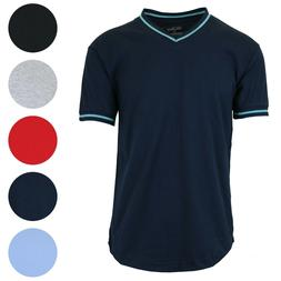 Mens Short Sleeve V-Neck Tee Slim-Fit Trim Color Lounge Summ